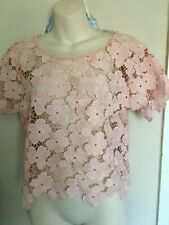 PALE PINK LACY TOP / OVERTOP SCALLOP EDGE BNWT 10 / 12 BLOUSE HOLIDAY BEACH