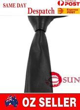 Men Skinny Black Quality Faux Leather Necktie Neck Tie Party Wedding Dance