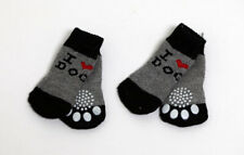 New listing 4pcs I Love Dog Grey Non-Slip Dog Socks for Clean & Comfy Paws Pet Puppy Size M