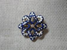 Antique Diamond Enamel Wedding Jewelry Pendant Brooch Belle Epoque 14K Gold 1900