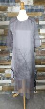 Ona Korean Double Layered Grey Leaf Pattern Dress Size UK 8 NEW
