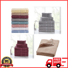 Bath Towel Set 10 Piece Cotton Towels Washcloth Soft Cloths Hand Dry Absorbent