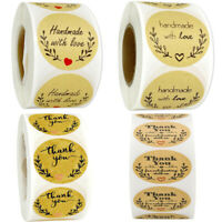 500* Thank You Stickers Handmade Round Labels Seal Business Craft Decal Wedding