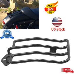 Compatible with Harley-Davidson Sportster XL883 1200 2004-2015 Solo Seat Luggage Rack Black HTTMT MT407