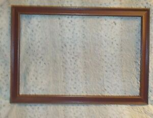 "Red stained wood frame, 18 1/2"" x 28"", wide rails, open back"
