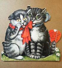 MECHANICAL VALENTINES DAY CAT CARD W/ MOVABLE EYES AND TOUNGUE VERY OLD Shaped