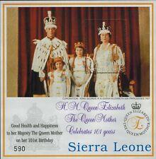 MODERN GEMS -Sierra Leone - Queen Mother's 101st Birthday - Souvenir Sheet - MNH