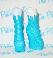 MONSTER HIGH ART CLASS ABBEY BOMINABLE DOLL REPLACEMENT BLUE ICE BOOTS SHOE