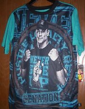 WWE s/s John CENA Black/Blue Shirt Boy's 14/16 NeW Never Give UP Cenation NWT