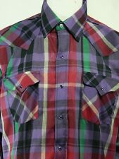 NWT Vintage Panhandle Slim Multi Color Plaid Pearl Snap Button Front Shirt U.S.A