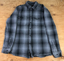 KR3W Mens Thick Flannel LongSleeve Shirt Size XL Button Up Gray & Black