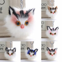 Charm Key Ring Cat Fur Ball PomPom Cell Phone Car Keychain Handbag Cute Keyring