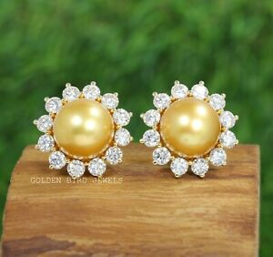 14.00 MM Natural Freshwater Pearl Halo Stud Earrings In 14K Yellow Gold
