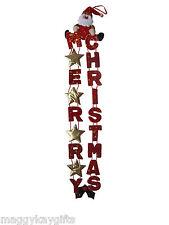 MERRY CHRISTMAS Hanging Christmas Door Banner, 96cm - Fabric - Santa Red & Gold