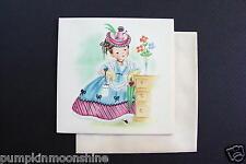 #E370- Vintage Unused Harry Doehla Greeting Note Card Girl In Fancy Blue Dress