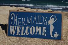 MERMAIDS WELCOME Rustic Tropical Beach Home Ocean Sea Blue Decor Sign NEW
