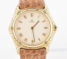 Ebel Mujer 18Ct Oro Amarillo Cuarzo #1657 Reloj W/Diamantes & Correa Cuero