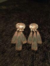 Rare Berebi Blue Glitter Silver Tone Earrings