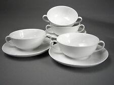 ARZBERG WHITE Form Shape 2000 3 CREAM SOUP BOWLS w/UNDERPLATEs Porcelain GERMANY