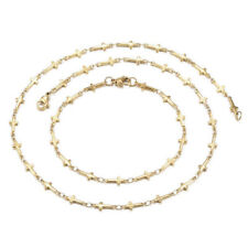 304 Stainless Steel Cross Set Necklace Bracelets Lobster Gold 17.72