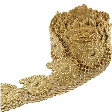 Indian Hand Beaded Bridal Border 9 YD Trim Golden Cutwork Sewing Lace Pearls