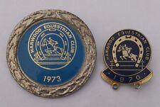 More details for lot (2x) equestrian badges - harwood equestrian club 1970 & 1973