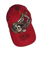 Don Ed Hardy Designs Snap Back Cap Red by Christian Audigier skull trucker NYC