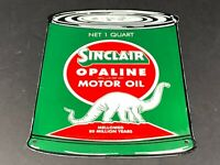 "VINTAGE SINCLAIR OPALINE QUART OIL CAN W/ DINO 11"" PORCELAIN METAL GASOLINE SIGN"