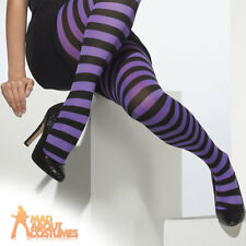 Ladies Black Purple Striped Tights Witch Clown Burlesque Pirate Smiffys UK 8-16