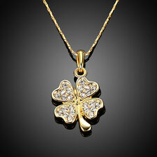 18k yellow gold plated necklace Crystal Clover Pendant women's Fashion Jewelry