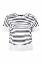 Topshop Stripe Dobby Trim T-Shirt White Size UK 12 rrp £24 DH078 FF 02