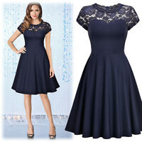 Women's Vintage Fit and Flare Dress, with Lace Collar and Short Sleeve