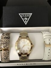 NEW AUTHENTIC GUESS W0163L2 Gold,Lizard ,WHITE LEATHER STRAPS  Watch Set