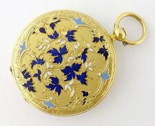 Antique 18K Yellow Gold and Enamel Leaves 35mm Pocket Watch