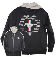 David Carey Ford Mustang Emblems Logos Zip Fleece Sweatshirt Hoodie Black