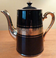 Luxurious vintage Gibson's Late Davenport Sevres black & gold tea or coffee pot