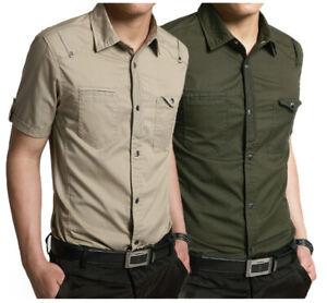 Mens Denim Shirts Short Sleeves Casual Cotton Epaulet Military Slim Jeans Shirts