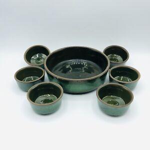 Vintage Green Stoneware Studio Pottery Nut Snack Dish Set of 7