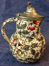 ENGLISH POTTERY SYRUP JUG WITH PEWTER LID ~ CHINTZ PATTERN OF FLOWERS & A BIRD