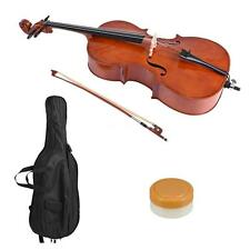 4/4 Full Size SolidWood Beginner Cello Gloss Finish Basswood Face Board+Bag New
