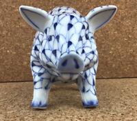 Fishnet Hand Painted Porcelain PIG Figurine ANDREA SADEK Blue White Vintage