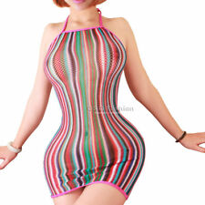 Rainbow Halter Fishnet Lingerie Babydoll Teddy Cat BodySuit Stocking Night Dress