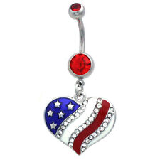 USA American Flag Heart  Patriotic 4th of July Red Barbell Dangle Belly Ring