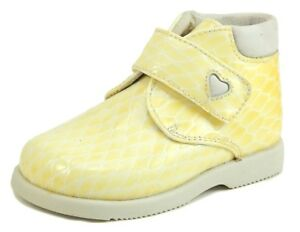 DE OSU -Baby Girls Ivory Gold Croc Patent Leather Dress Boots -European Size 4-7