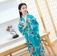 NOUVEAU japonais Enfants filles Blanc Avec Fleur Imprime Long Kimono Outfit gjk3