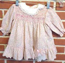 VINTAGE POLLY FLINDERS Dress SMOCKED TODDLER SIZE 12 MO Pink Roses
