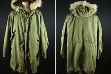 Vintage U.S Army M-1951 w/Liner Coyote Fur Fishtail Parka Conmar Zip Fits as XL