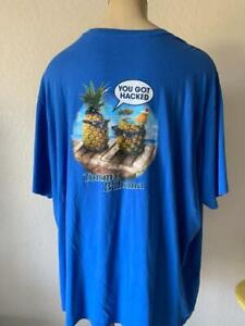"TOMMY BAHAMA Men's Royal ""You Got Hacked"" Short Sleeve Tee Shirt Size 4XB $55"