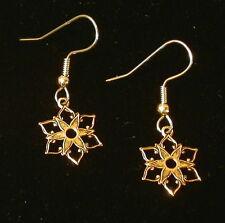Snowflake Earrings 24 Karat Gold Plate Winter Christmas Holiday