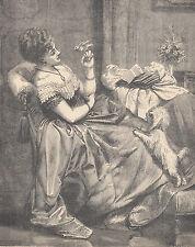 Dandie Dinmont Terrier Dog Pet Birds Victorian Lady Antique Print 1884